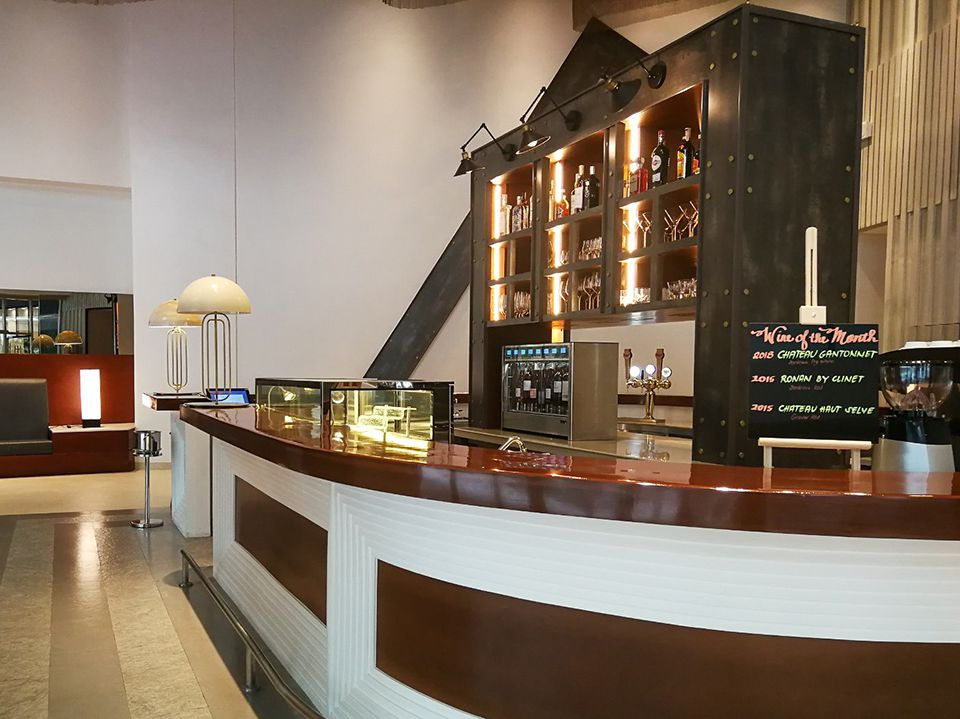Stocked bar and lobby for hotel guests and hospitality management students